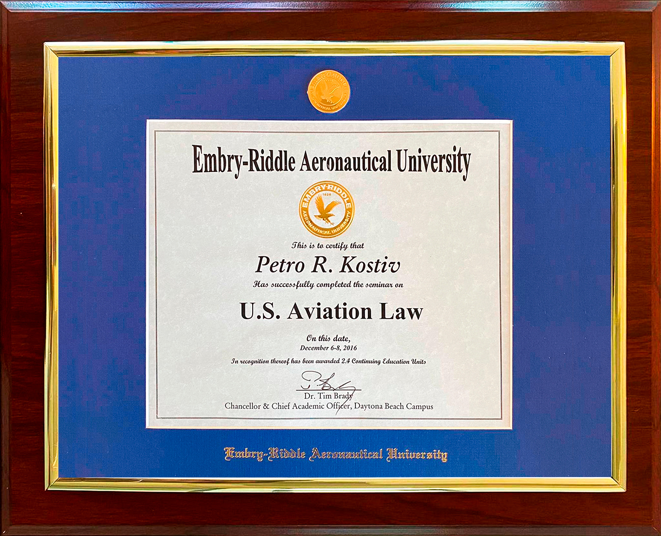 AVIATION LAW CERTIFICATION FROM EMBRY-RIDDLE AERONAUTICAL CERTIFICATE